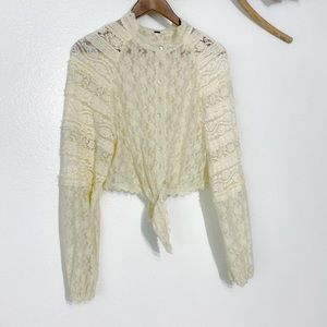 Free People Lace Top ties front Sz M